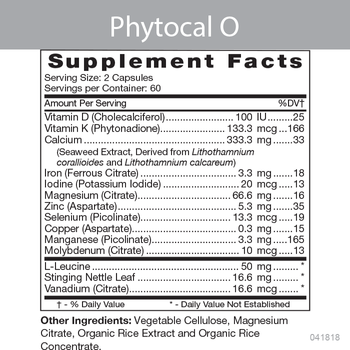 Phytocal O Product Information